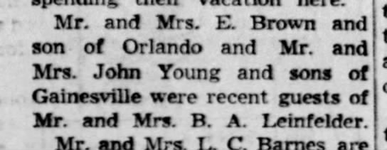 1/5/1954 - , Mr. and Mrs. E. Brown and , son of Orlando...