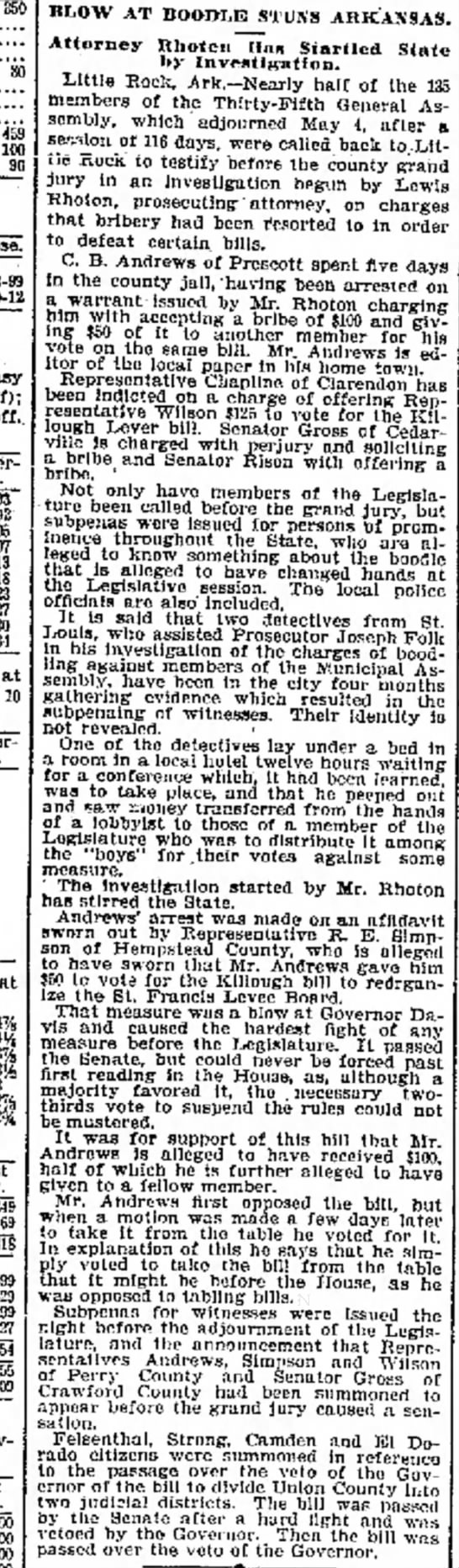 "The  Galveston Daily News (Texas) 4 June 1905, p. 23 - ""Kb 459 100 96 Close. easy 11 off); off. at 8..."