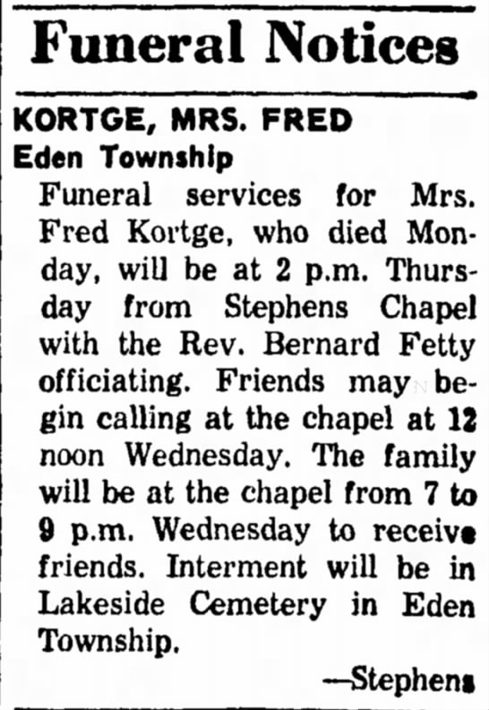 "The Ludington Daily News (MI); 18 Mar 1969; Tues pg 2; Kortge, R Beatrice Funeral - Funeral Notices KORTGE, MRS. FRED "" Eden..."