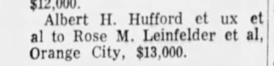 2/19/1958 - $12,000. Albert II. Hufford ct ux et al to Rose...