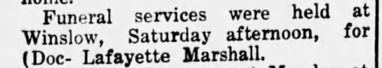 Lafayette Marshall funeral - Funeral services were held at Saturdav...