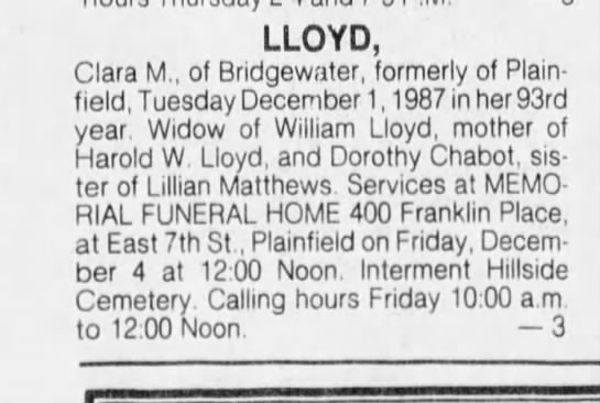 CLARA M. LLOYD GM SISTER - LLOYD, Clara M., of Bridgewater, formerly of...