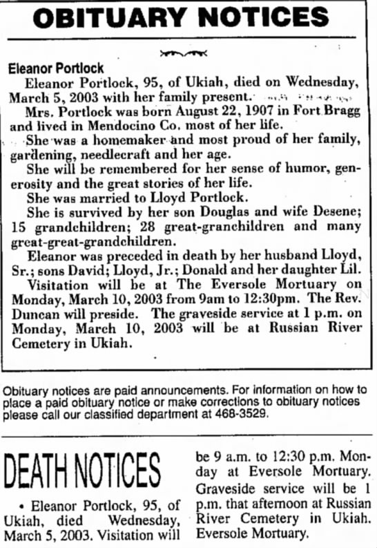 Ukiah Daily Journal (Ukiah, California) March 8, 2003 pg 2 - OBITUARY NOTICES Eleanor Portlock Eleanor...