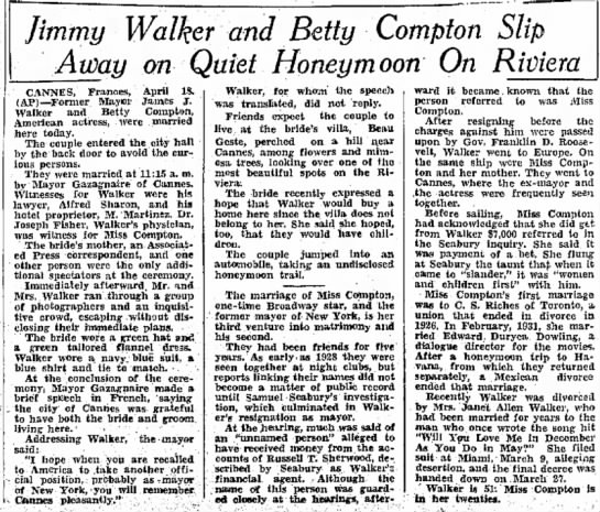 COMPTON-8 - Jimmy Walker and Betty Compton Slip Away on...