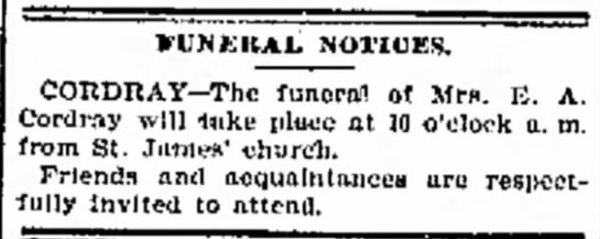 Eliza Cordray dies Oct 1894 - riJMiKAL NOTICES. CORDRAY--The funeral! of Mrs....
