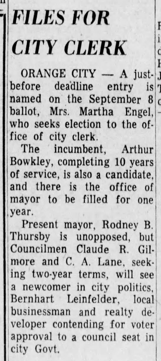8/18/1959 - FILES FOR CITY CLERK ORANGE CITY A lust- lust-...
