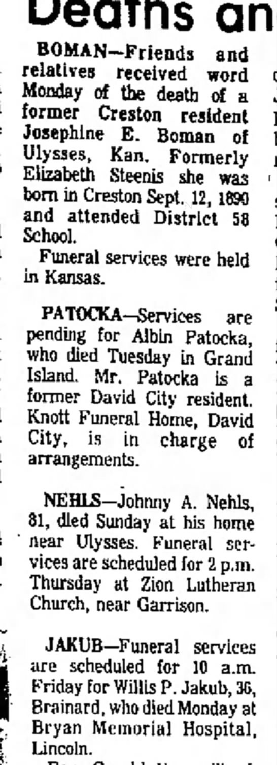 Albin Patocka obituary - Deaths and Val the No. 7:30 is in 7 will own in...