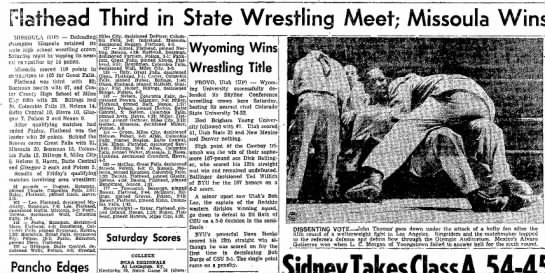 - iathead Third in State Wrestling Meet; Missoula...