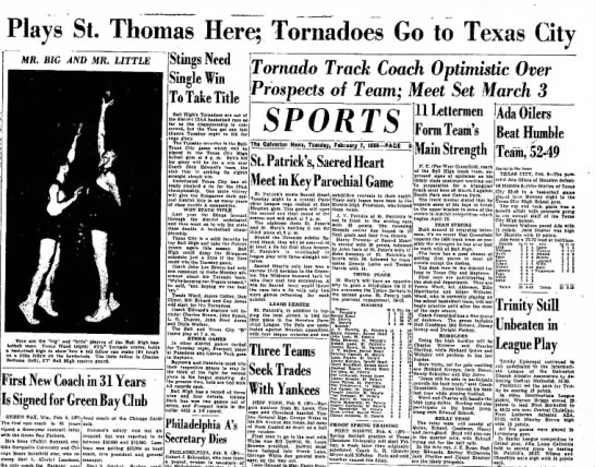 - Plays St. Thomas Here; Tornadoes Go to Texas...