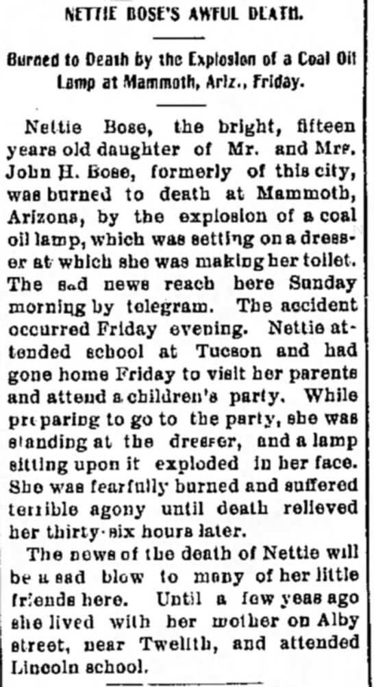 - NETTIE BOSE'S AWfUL DEATH. Burned to Death by...