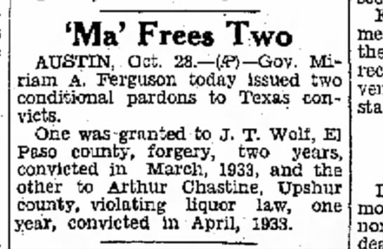 """Ma"" Frees Two - The Brownsville Herald (Brownsville, TX) 29 Oct 1933 - days democratic 'Ma' Frees Two AUSTIN, Oct...."