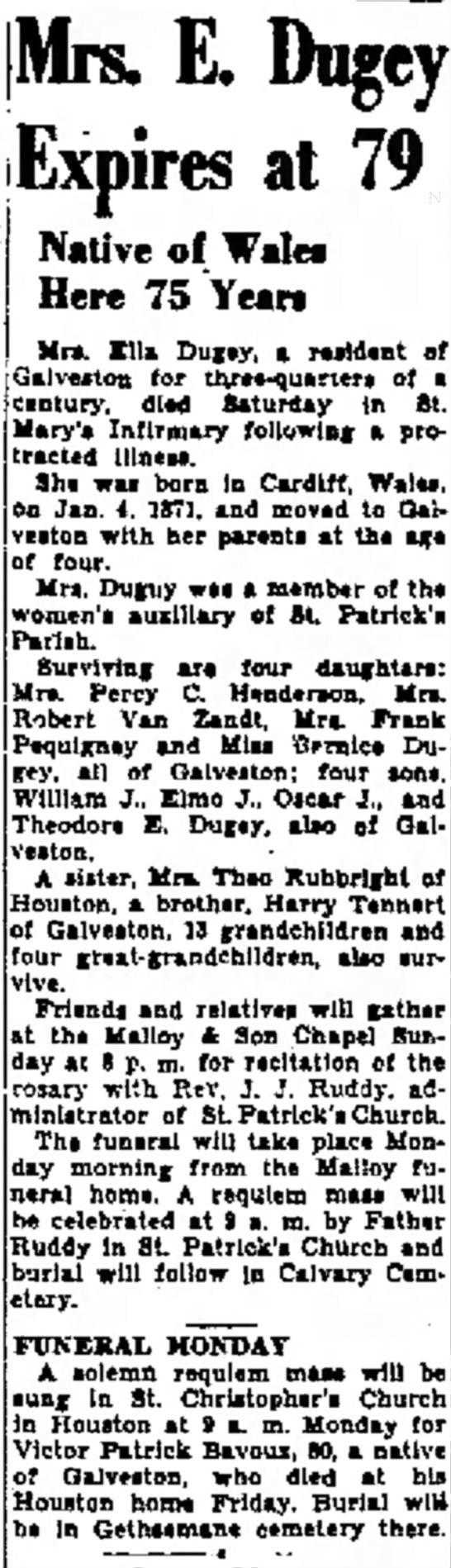 Grandmother's obit. 7/9/1950 - on Mra. Acton of a afternoon. Mre. Texu will...