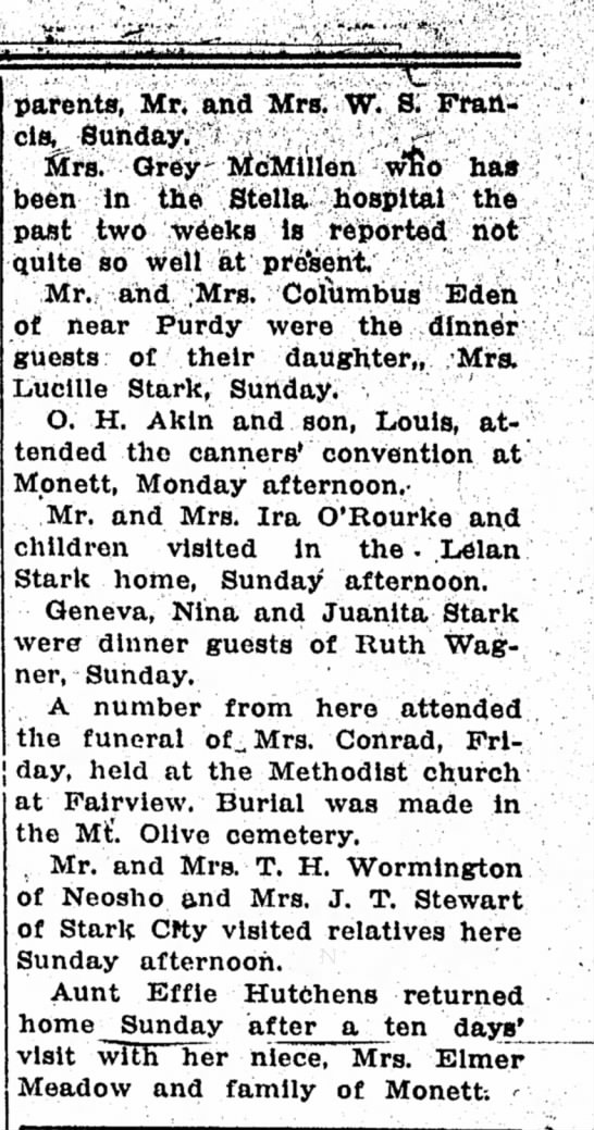 2nd part of Pioneer news article with Stark individuals mentioned. 11 Feb 1932 - j day, held at the Methodist church parents,...