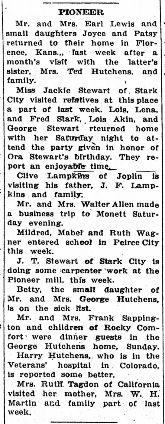 Pioneer News, 8 Sept 1932 - PIONEER Mr. and Mrs. Earl Lewis and small...