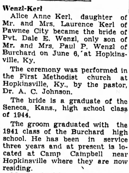 Kerl, Alice Ann marriage 11 Jul 1945 - Wenzl-Kcrl Alice Anne Kerl, daughter of Mr. and...