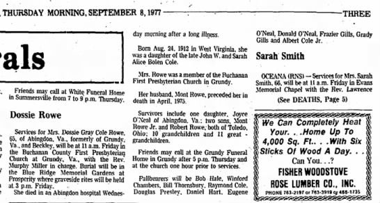 Aunt Dossie's Obituary - THURSDAY MORNING, SEPTEMBER 8,1977- -THREE day...