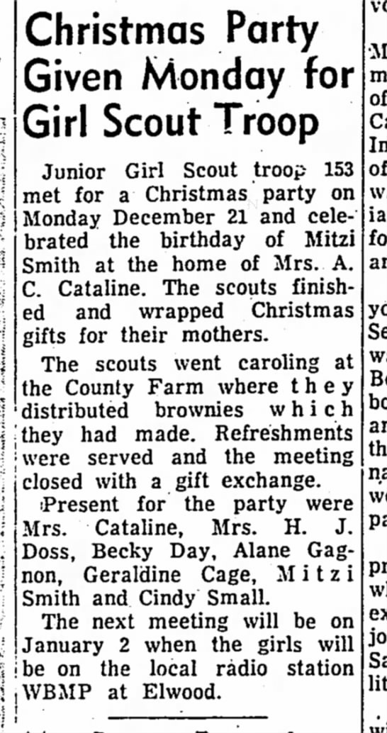 Mitzi Girl Scouts 1964 - Christmas Party Given Monday for Girl Scout...