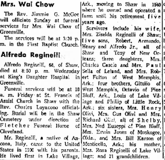 Alfredo Reginelli Obituary May 1967 The Delta Democrat-Times, Greenville, MS - He lived first in I_alie Village, lagc; and 21...