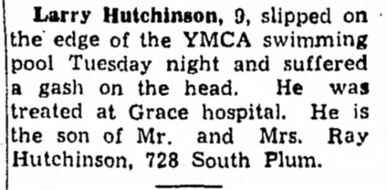 LarryHitsHIsHead - Larry Hutchinson, 9, slipped on the edge of the...