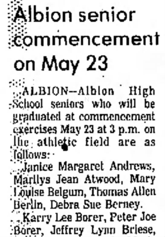 Debra Sue Berney 8 May 1976 - ||jlbion senior ijclpmmencement on May 23 V, :...