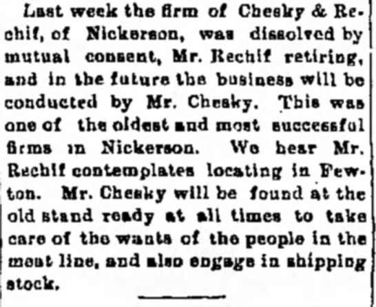 Hutchinson news 1/20/1898 - Last week the firm of Cbesky & Re chlf, of...