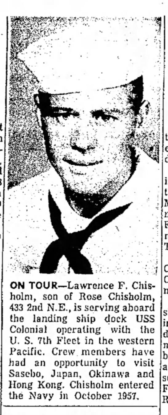 - ON TOUR—Lawrence F. Chisholm, Chisholm, son of...