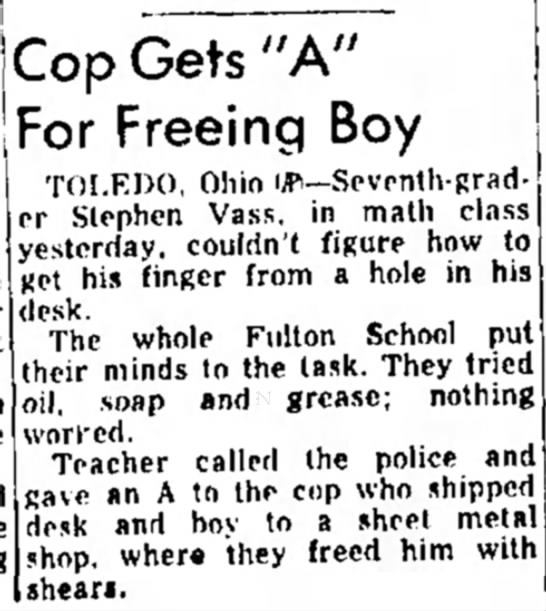"Cop Gets ""A"" For Freeing Boy - s l i m a t - j -. ^ , los.s