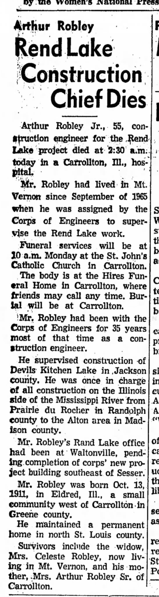 Arthur Robley, Jr. - Obit. Mt. Vernon Register-News, Illinois-4 May 1967, page 1 - by the Women's National Press Aifhur Robley...
