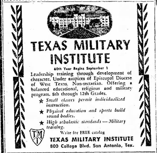 Texas Military School - TEXAS MILITARY 40th Y«ar 8«gin« $«pttmber 1...