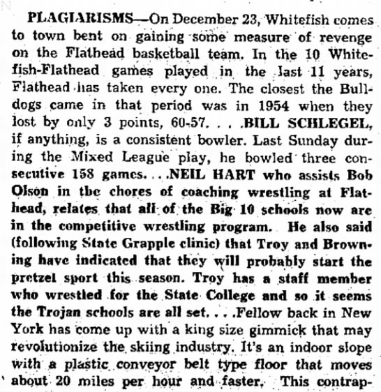 - PLAGIARISMS--On December 23, Whitefish to town...