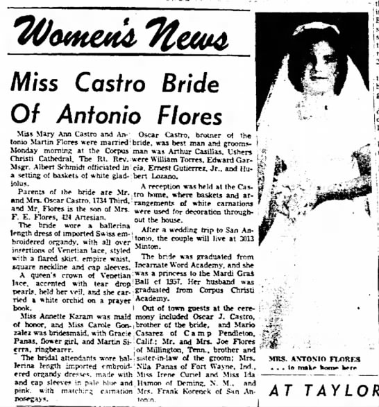 Mary Ann Castro - Miss Castro Bride Of Antonio Flores Miss Mary...