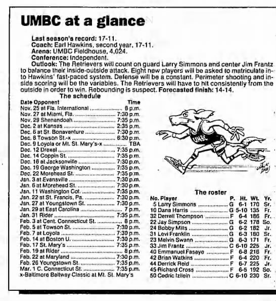 1989-90 UMBC schedule and roster - UMBC at a glance Last season's record: 17-11....