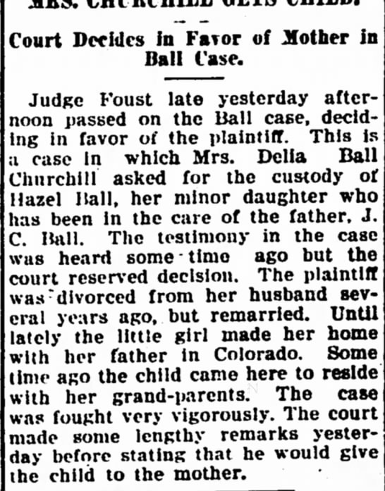 Court Decides in Favor of Mother in Ball Case - Iola Register 31 December 1907 Page 1
