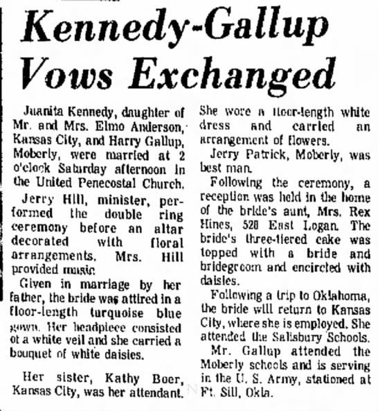 - Kennedy-Gallup Vows Exchanged Juanlta Kennedy,...