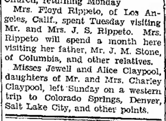 Jefferson City Post-Tribune 9 July 1930 - a Miller, Church, returning Monday Mrs. Floyd...