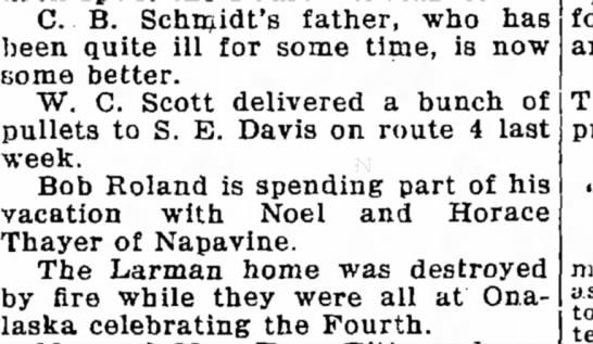 Davis, Sidney EliThe Chehalis Bee-Nugget (Chehalis, Washington)13 July 1928 - C. B. Schmidt's father, who has been quite ill...