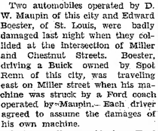 30 August 1930, Ed was 18 - Two automobiles operated by D. W. Maupin of...