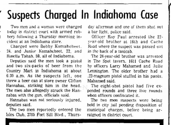- Suspects Charged In Indiahoma h e i r i m a l f...