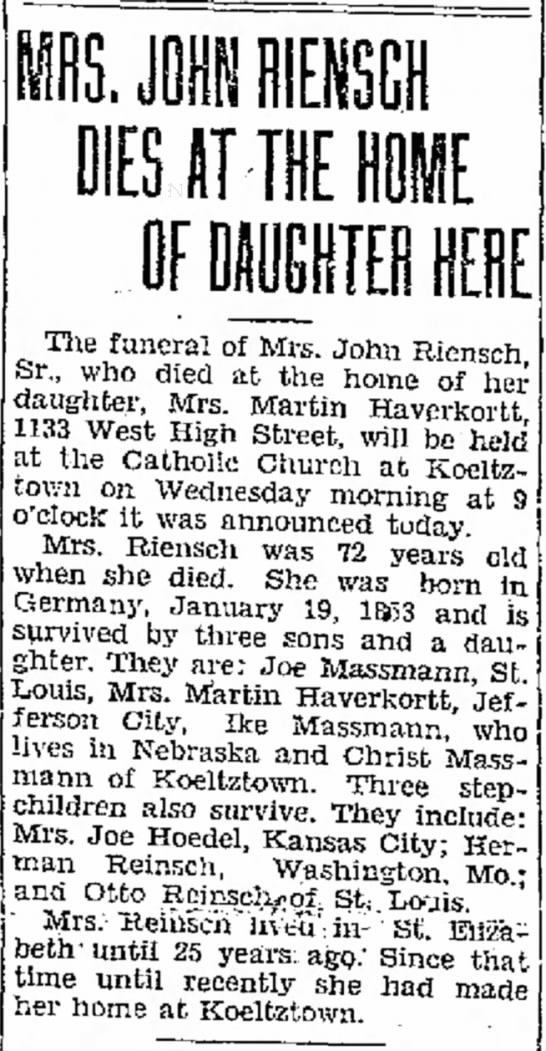 John Reinsch SR. 2nd wife