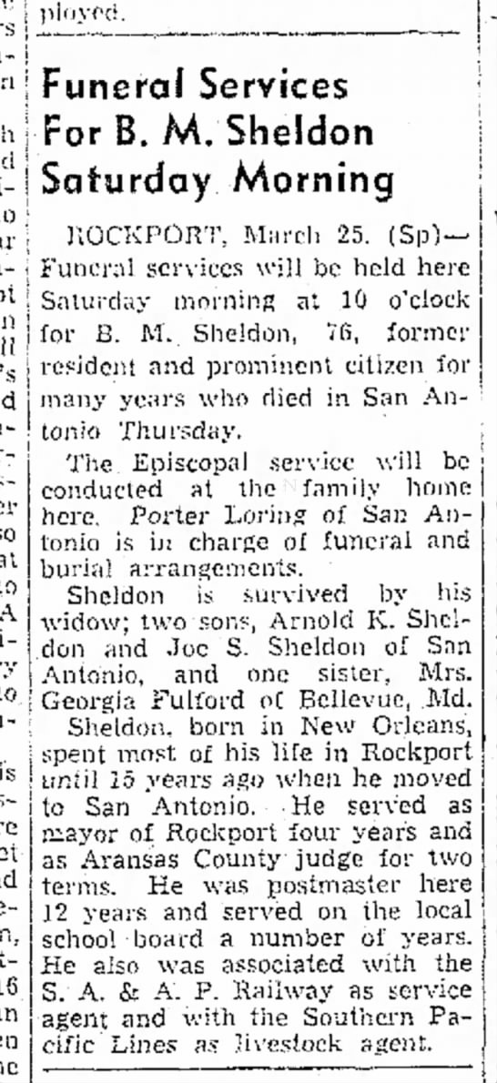 B M Sheldon Funeral - j _L!_I--U-; _____ -and in- i men j f y nerd!...