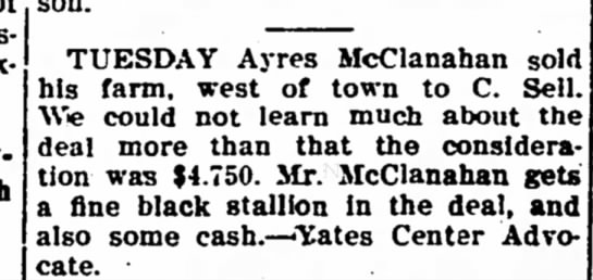 ayres mcclanahan - TUESDAY Ayres McClanahan sold his farm, west of...