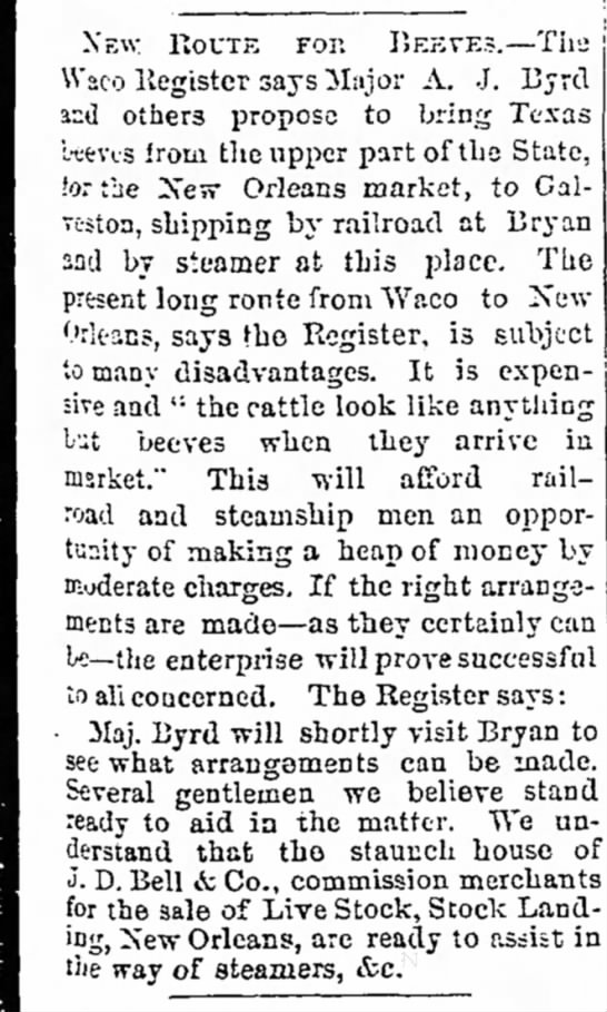 A J Byrd--article--Galveston Daily News--4 June 1869