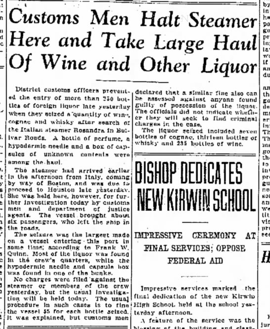 Liquor seizure from the Rosanda - 1927 - Gld- John n e n t 3.) Julius the rings the have...