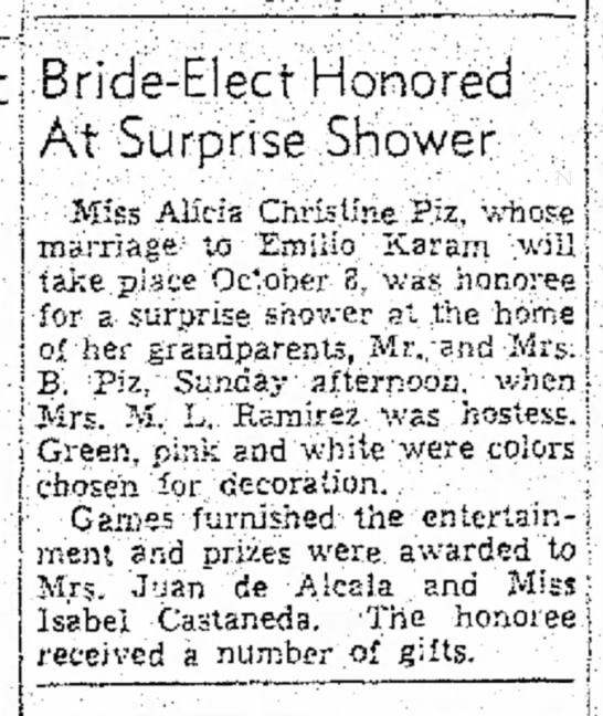 Emilio Karam - I ;j Bride-Elect Honored' j At'Surprise SBower...
