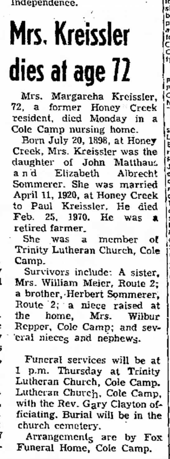 Kreissler Margaretha - Jeff City Post - 18-1-1972 - at George Cemetery, 27 Independence. Mrs,...