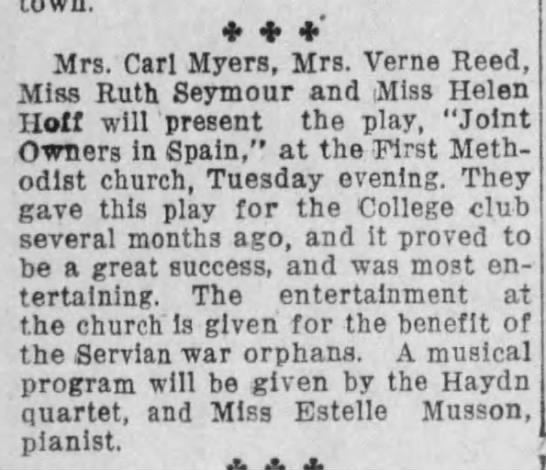 Akron Beacon Journal. dec. 2, 1918, p. 6 Servian orphans - ' Mrs. Carl Myers, Mrs. Verne Reed, Miss Ruth...