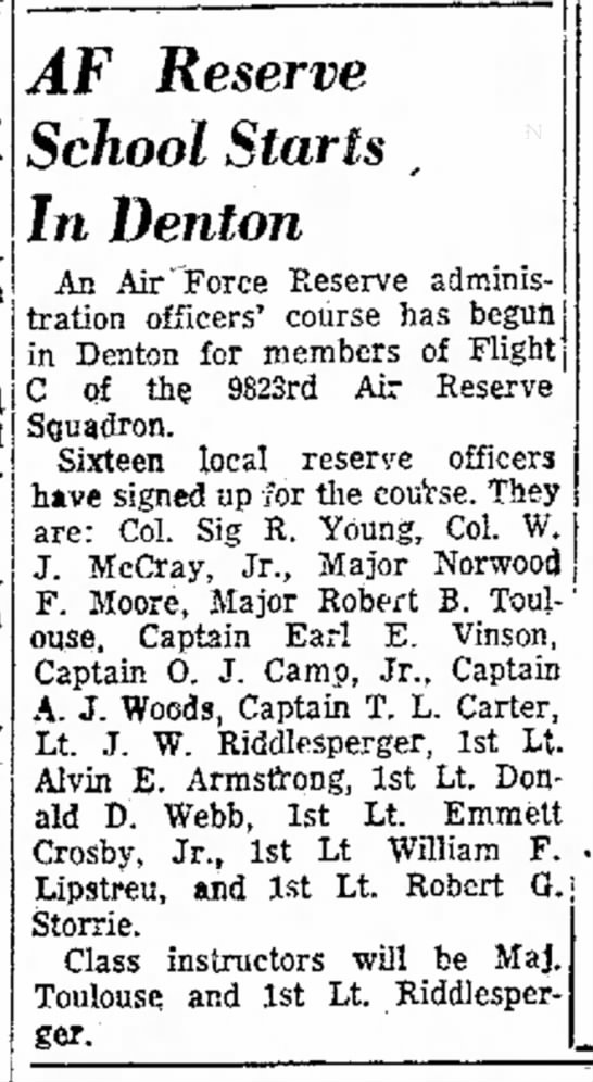 Crosby 7/4/1954 - A. visited in and and AF Reserve School Starts...