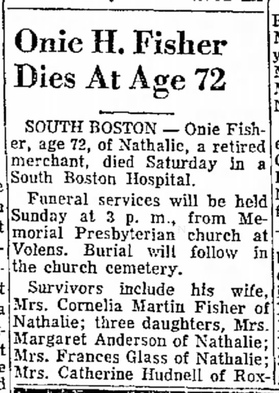 Cornelia Martin Fisher - Living Years Onie H. Fisher Dies At Age 72 in...