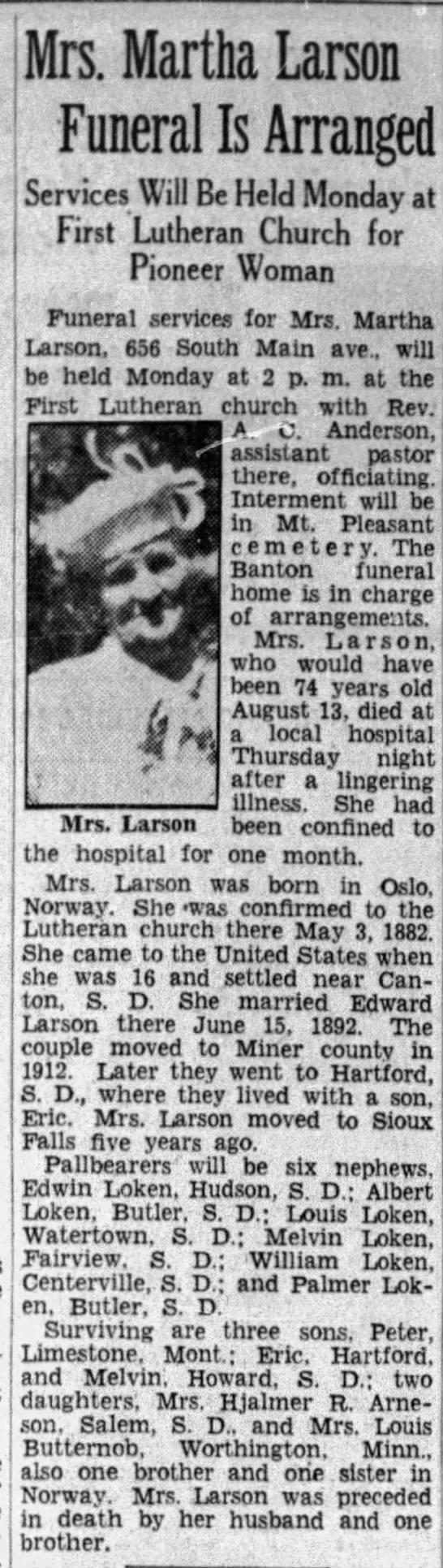 martha larson - Mrs. Martha Larson Funeral Is Arranged!...