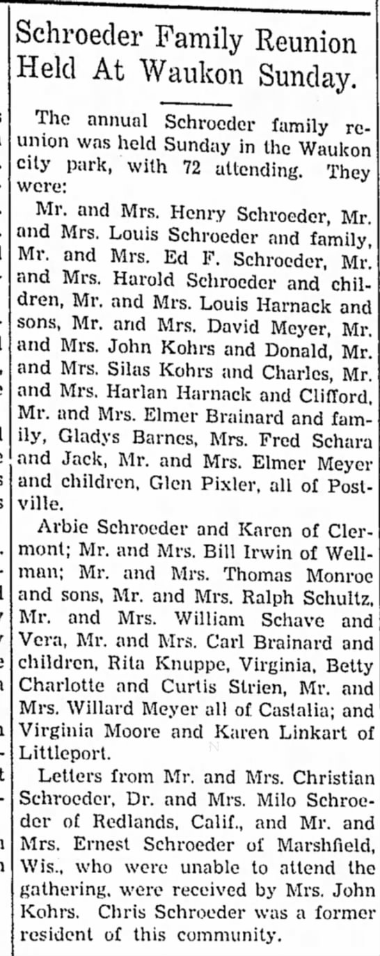 1 July 1942 Schroeder Family Reunion - Schroeder Family Reunion Held At Waukon Sunday....